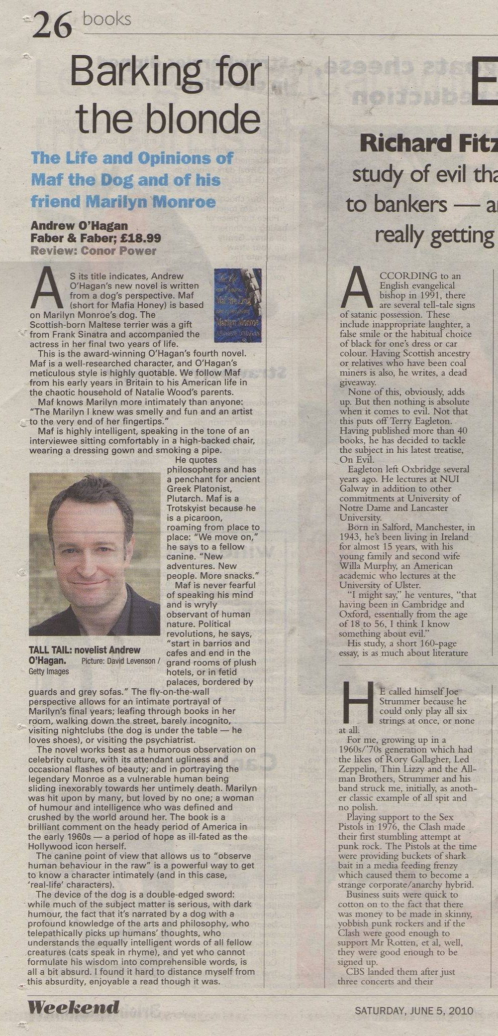 "Irish Examiner - Review of ""Maf the Dog"" by Andrew O'Hagan"