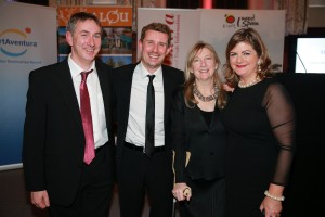 Conor Power (left) with fellow journalists (l-r) Pol O Conghaile, Deirdre Conroy and Madeleine Kean (all of the Irish Independent) at the 2015 Travel Writer of the Year Awards, where Conor Power received an award in the Short Breaks category